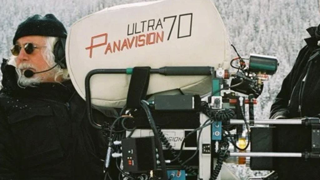 Ultra Panavision 70 lens on The Hateful Eight set