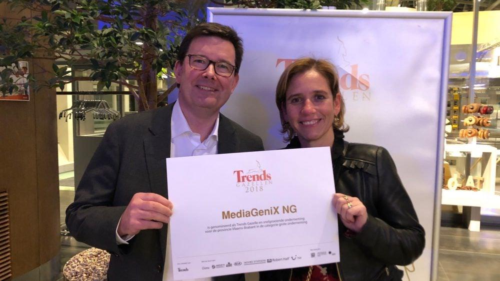 CFO Isabelle van Iseghem and Marketing Officer Geert Van Droogenboeck proudly posing with the 'Trends Gazelles' certificate.
